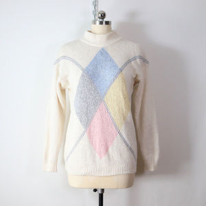 vintage 90s silk pastel angora diamond sweater M